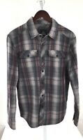 Prana Mens Small Gray plaid Long Sleeve Button Front N-30