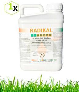 Professionnel désherbant herbicide RADIKAL 5L pour terrasses gazon jardins vert