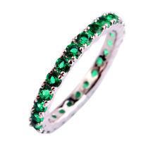 Exquisite Round Cut Emerald & Sapphire Gemstone Silver Ring Size 67 8 9 10 11 12