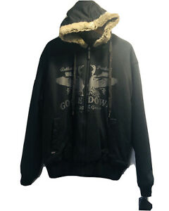 NWT Triple FAT Goose Black Full Zip Reversible Fur Hoodie Jacket Coat Size XL