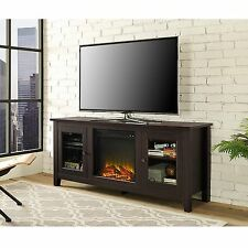 New 58 Inch Wide Television Stand with Fireplace in Espresso Finish