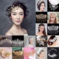 Luxury Rhinestone Crystal Pearl Flower Tiara Crown Bridal Headband Hair Band