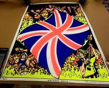 VINTAGE 1984 BRITISH ROCK BlackLight POSTER Union Jack SCORPIO Rolled RARE Rare