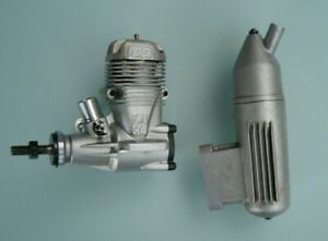 Vintage OS .46LA-S silver case stunt engine C/W factory 3030 muffler  CL FF R/C