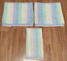 Vtg Fieldcrest Towels Pastel Striped 3 Pc Set 2 Bath 1 Hand Terry Cotton