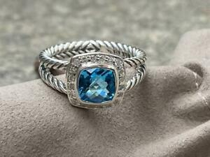David Yurman Diamond Petite Albion Blue Topaz Ring Size 7 Sterling Silver