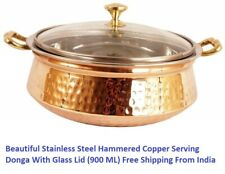 Beautiful Stainless Steel Hammered Copper Serving Donga With Glass Lid (900 ML)