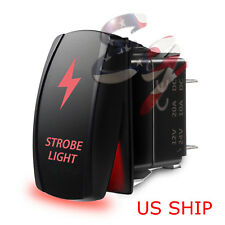 LED Strobe Red Waterproof ROCKER SWITCH LASER ETCHED 5 PIN 12v 20a CAR Marine
