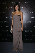 Gucci £3500 Brown Silk Strapless Gown with Gold Belt Detail at bust uk 6, 8, 10