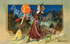 Fabric Block Halloween Dance Vintage Postcard Image