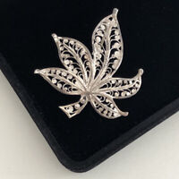 Vintage Sterling Silver 925 Brooch Filigree Maple Leaf