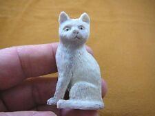 CAT-4) white sitting Kitty Cat kitten shed ANTLER figurine Bali detailed carving