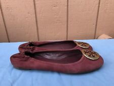 EUC Tory Burch Reva Ballet Flats Wine Suede Gold Logo Shoes Size US 8M Women A5