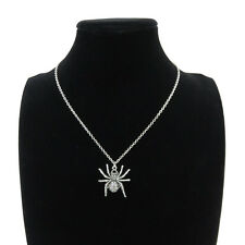 "Silver Alloy Animal Spider Pendant Short Chain Collar Necklace 18"" Child Party"