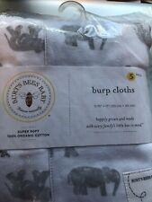 New listing New Burt's Bees Baby Burp Cloths 5Pack Extra Absorbent 100% Organic Cotton Burp