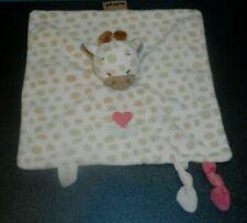 Doudou Plat Girafe Blanc Beige Charlotte Cœur Fleur Nattou