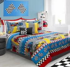 Race Cars Boys Full / Queen Comforter & Shams, 3 Piece Bedding Set