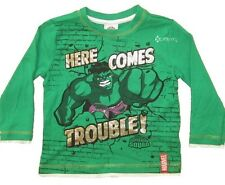 Boys Marvel Superhero Squad Hulk Here Comes Trouble Long Sleeved Top Ages 2-8 Ye