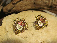 Vintage Heraldic Shield Coat Of Arms Lion Gold tone Enamel Screw Earrings