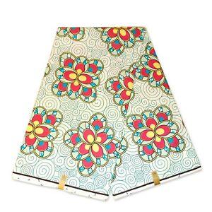 "African fabric WHITE wax print fabric ""FLOWER PATTERNS"" Ankara kitenge wax cloth"