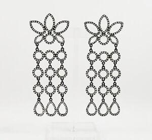 Kenneth Jay Lane Black rhodium /rhinestone cluster 3 row drops pierced earrings