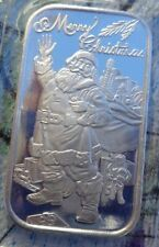 1 oz. 2020 Santa Merry Christmas art bar .999 fine silver
