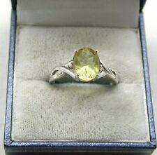 Lovely 9ct White Gold Citrine And Diamond Ring