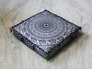 "18X4"" Square Black Silver Floor Decorative Box Cushion Cover Cotton Pillow Cover"