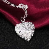 Silver love heart necklace pendant chain locket Pendant Couple valentine gift