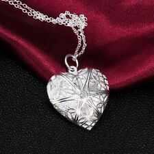 Silver love heart necklace pendant chain locket Pendant Couple valentine gift