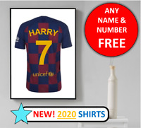 Barcelona Football Shirt Personalised Name Wall Art Print Home Poster Barca Kit