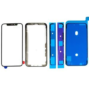 Replacement Front Screen Glass +Metal Frame Bezel + IP67 tape For Apple iPhone X