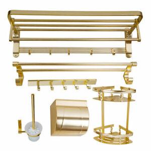Gold 6 pcs Bathroom Wall Mount Towel Rack Shelves Hooks Toilet Paper Holder Set