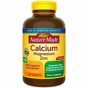Nature Made Calcium, Magnesium Oxide, Zinc with Vitamin D3, 300 Tablets
