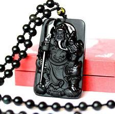 natural obsidian Guan Yu Guan Gong Chinese amulet pendants