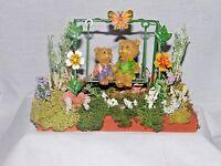 Table Floral Arrangement Juvenile Two Swinging Bears Handmade