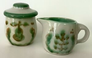 EXC M.A.Hadley Pottery Green Pear & Grapes Lidded Sugar Bowl & Creamer Pitcher