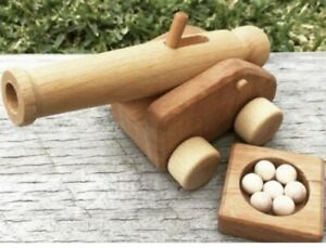 Ostheimer Wooden Toy – Structure – Small Cannon with Cannonballs SOLD OUT