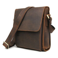 Mens Real Leather Messenger Shoulder Bag Small Cross Body Bag Satchel School Bag