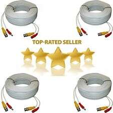 4x 100ft Security Camera Cable CCTV Video Power Wire BNC RCA White Cord DVR Lot