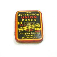 Vintage 1950s Jefferson Union Auto Fuses Tin Jefferson Electric Company Bellwood