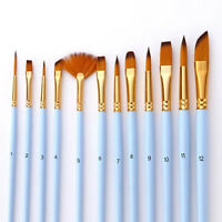 12Pcs Paint Brushes Artist Paint Brush Set Pointed Acrylic Watercolor Craft