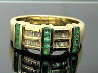 Green Emerald & Diamond Women's Ring 14k Yellow Gold Band Estate Jewelry SZ 7