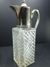 More details for beautiful vintage crystal carafe pitcher decanter silver plate top 8 1/2