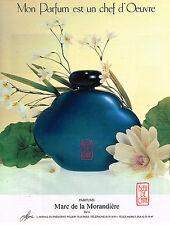 PUBLICITE ADVERTISING 084  1988  MARC DE LA MORANDIERE parfum BLEU DE CHINE