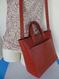 Portland Leather Goods ~ Mini Tote Crossbody Bag ~ Papaya Color ~ Excellent