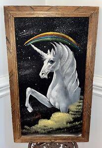 "Vintage Velvet Unicorn Rainbow Mexican Painting Rustic Wooden Frame 23"" x 14"""