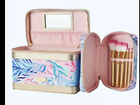 NWT Lilly Pulitzer Cosmetic Case Bag + Makeup Brush Set Kaleidoscope Coral GWP