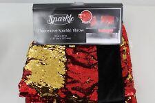 Sequin Mermaid Red Gold Throw Blanket 50 x 60 Reversible
