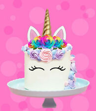 RAINBOW UNICORN GOLD HORN FLOWERS EDIBLE STAND UP CAKE TOPPER IMAGE DECORATION